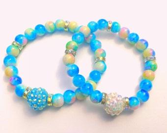 Girls Beaded Bracelet, Blue Bracelet, Stretch Bracelet, Handmade Bracelet, Beaded Jewelry, Little Girls Bracelet, Girls Bracelet
