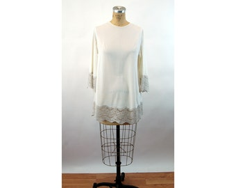 1960s nightgown short nightie white nylon wide lace trapeze style bell sleeves Gilead Size M