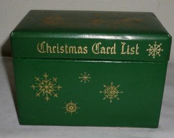 Vintage Green Sleigh Christmas Card List Box