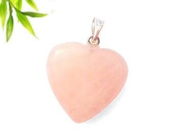 Silver plated heart pendant - rose quartz