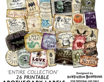 Apothecary Bottle Labels Jar Halloween printable paper art hobby crafting instant download digital collage sheet COLLECTION 3