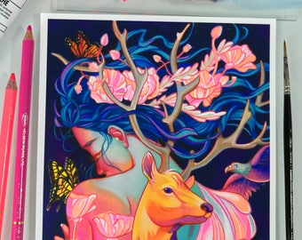 Memories hand embellished print 10 limited edition fluorescent colors bright colors 8x10 wildlife sunset fire deer butterflies poppies