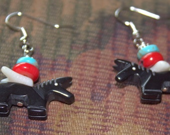Black Jet Navajo Horse Fetish with Coral and Turquoise Earrings