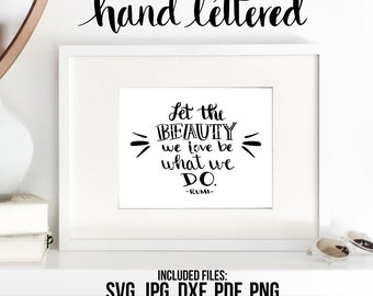 Let the Beauty, We Love Printable, Rumi Quote, Hand Lettered, Calligraphy Cut File, SVG Cut File, Graphic Overlay