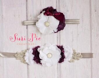 Maternity Sash, Bridesmiad Sash, Flower girl Headband, Bridal sash, burlap Sash, maternity belt, Bridesmaid belt, bridal belt
