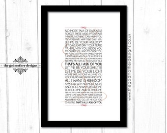 All I Ask of You - Phantom of the Opera - Broadway Musical - Typography - Lyrics - PRINT