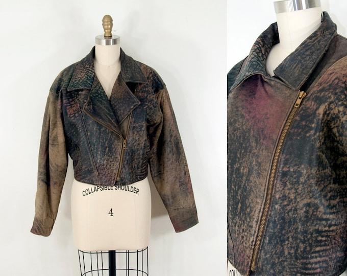 80s Vintage Tye Dye Leather Moto Jacket (L)