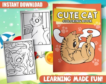 BEST VALUE 30 Cat Coloring Pages PDF Instant Download Printable Book For Kids Adults Lover Gift With Cute Animals Kittens