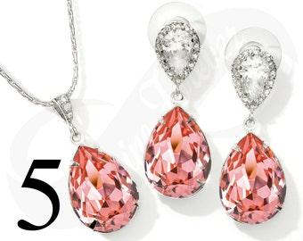 Set of 5 Bridesmaid Jewelry Set Bridesmaid Peach Jewelry Set Bridesmaid Rose Jewelry Set Bridal Jewelry Bridal Set Bridesmaid Gift