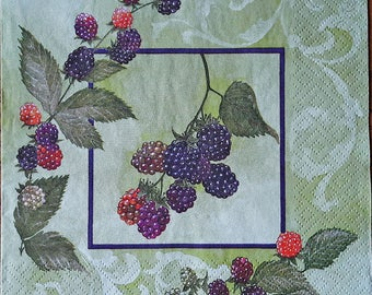 Napkins for decoupage Decoupage napkins Decoupage paper Collage paper Blackberry