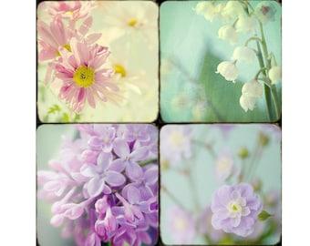 Flower Print Set, Lilac, Daisy, Lily of the Valley Photos, Flower Decor, Nursery Decor Set, Pastel Decor, Floral Art Prints