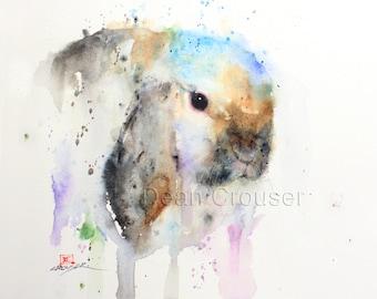 BUNNY Watercolor Print, Rabbit Painting, Rabbit Art by Dean Crouser