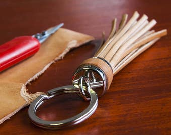 Hand made leather keychain, gift for you definitely appreciated, in natural cowhide leather.