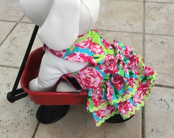 Floral Dog Harness Dress With Bow