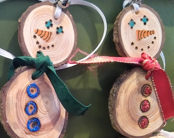 Christmas tree decoration, Christmas snowman, wooden decoration, natural ornaments