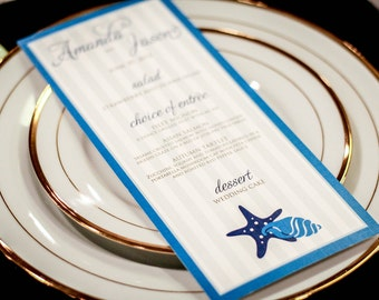 "Beach Wedding Menus, Destination Wedding Stationery, Blue Menus, Nautical Wedding - ""Starfish and Shell"" Flat Menu, No Layers - DEPOSIT"