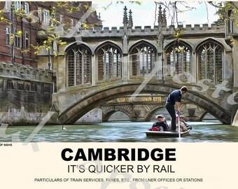 Vintage Style Railway Poster Cambridge Bridge of Sighs A3/A2 Print