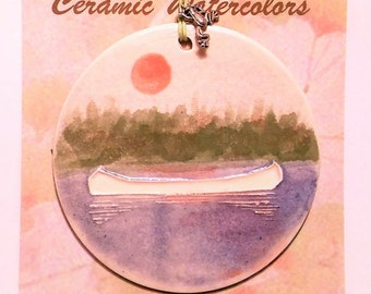 CANOE ORNAMENT plus free gift wrap, original, 100% handmade