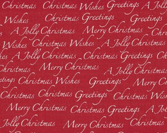 Marcus Quilt Fabric - A Jolly Christmas - Designer Edelen Wille - Red Background - One and Three Quarter Yards
