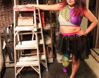 Faux Leather Asymmetrical Skirt