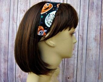 Reversible Headband - Headband for Women - Adult Headband - Womens Headband - Handmade Fabric Headband - Halloween and Black Flourish