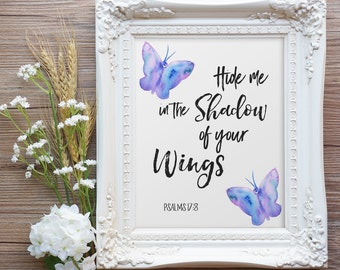 Psalms 17:8, Bible Print, Printable Bible Verse, Digital Wall Art, Shadow of Your Wings, Butterfly Wall Art, Printable Scripture,Digital Art