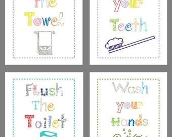 Bathroom Rules // Bathroom Art Prints for Kids // Bath Decor // Art for the Bathroom // Bathroom Wall Art // Bath Rules //4-8x10 PRINTS ONLY