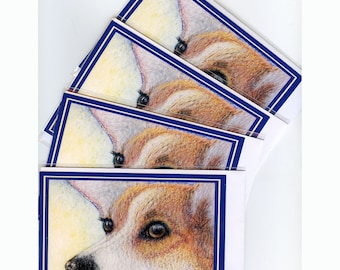 4 x Welsh Corgi dog greeting cards - Missing You