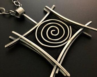 Silver/Copper Screen Pendant Necklace