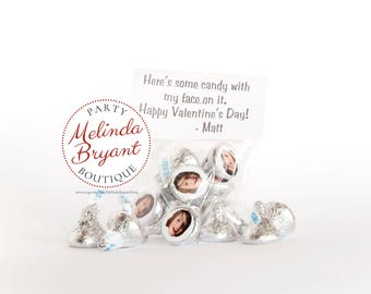Personalized Selfie Valentine Card Sticker Kits for Hershey Kisses