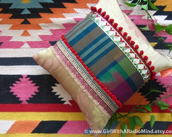 Ethnic Throw Pillow - Gorgeous Royal Golden Gypsy Indian Cushion