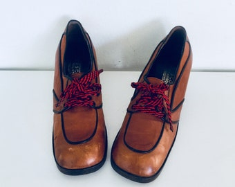 70s Platforms Shoes Spectator Heels Lace Up Cognac Leather Oxfords Shoes Round Toe Leather Loafer Size 8