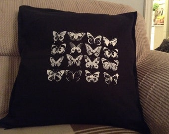Hand screen printed Monochrome Butterfly Cushion