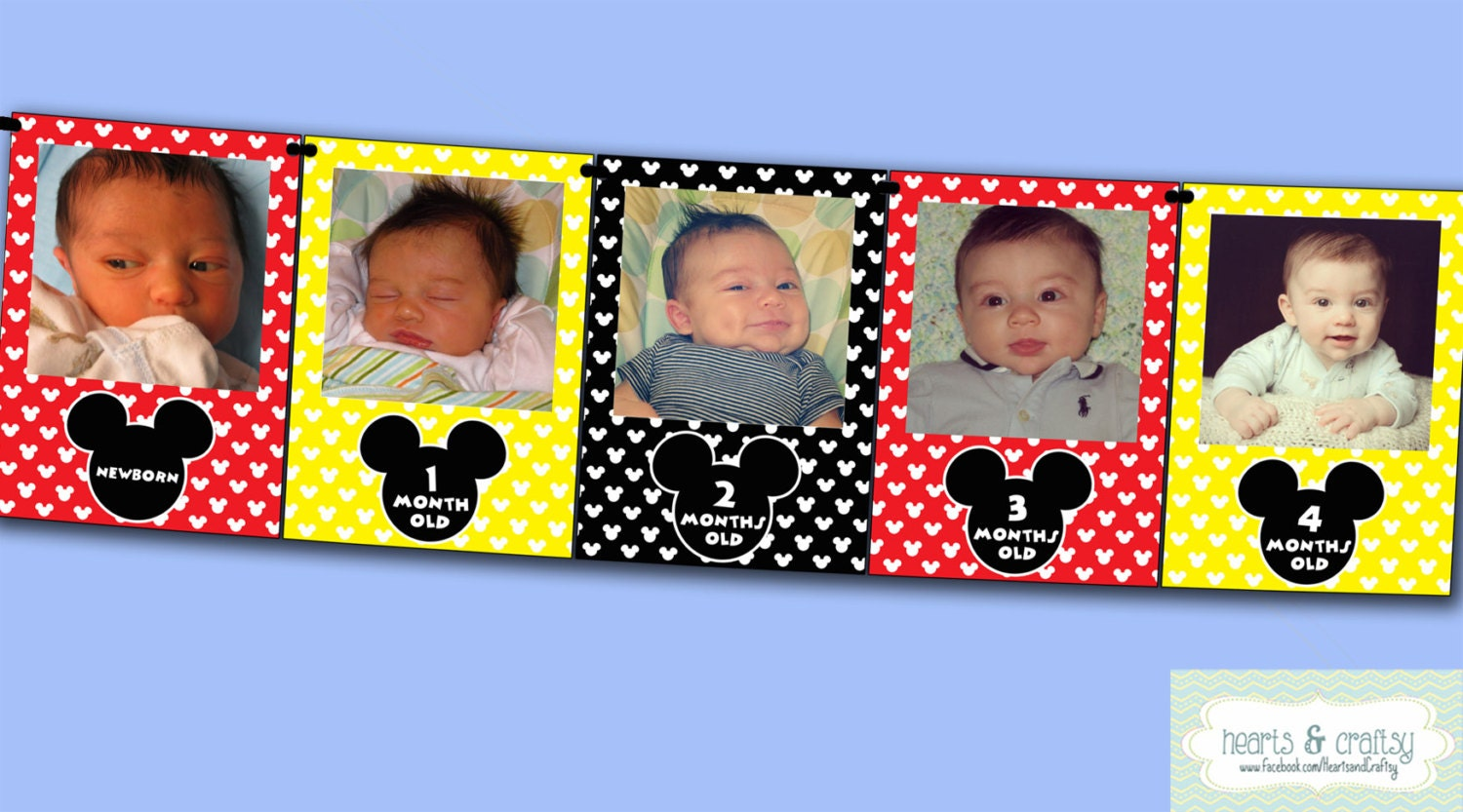 Mickey Mouse First Year Photo Banner 12 Month Picture Banner