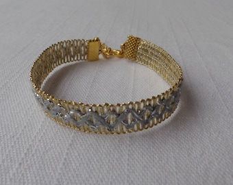 Sky woven braid trim and gold bracelet
