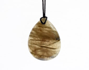 Rutilated Quartz Necklace, Large Stone Necklace, Rutile Quartz Pendant, Natural Crystal Jewelry, Healing Worry Stone Pendant Necklace