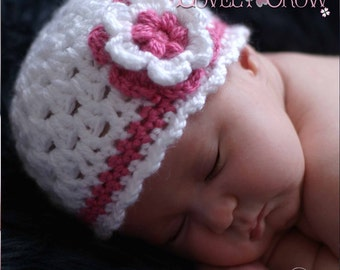 Girl Beanie Crochet Pattern for Ebeth's Princess Beanie - sizes from newborn to 4T digital