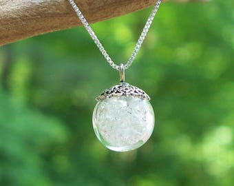 Recycled Reclaimed Vintage Clear Milk Bottles and Sterling Silver Orb Necklace