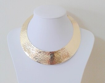 Choker Necklace Hammered Collar Necklace Handmade Gold - Silver Cuff ,or Sterling silver 925.Choker Necklace