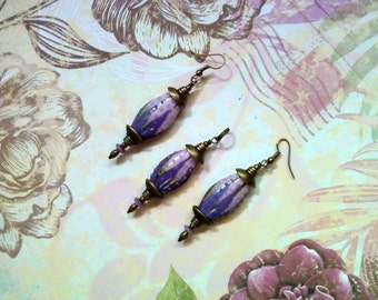 Pink and Lavender Lampwork Pendant and Earrings (1912)