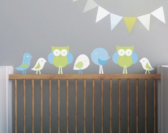 Kids Wall Decal and Baby Nursery Wall Decal in Custom Colors. Birds and Owls Children Wall Decal