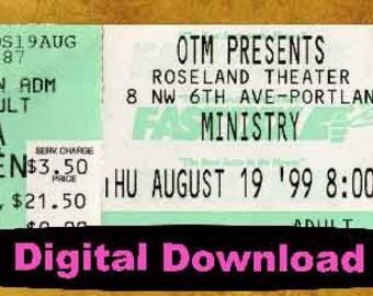 Ministry  Concert Ticket Stub, PHOTOSHOP FILE