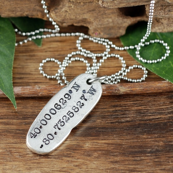 Coordinate Necklace, Pewter Necklace, Longitude Latitude Necklace, Location Necklace, Gps Necklace, Gift for Friend, Anniversary GIft