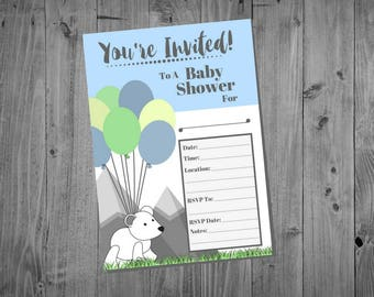 Baby Shower Invitations - Mountain Theme