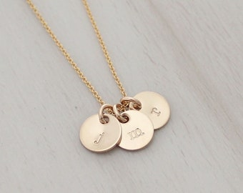 """Dainty Initial Charm Necklace in Gold or Silver - Three 3/8"""" Initial Discs - Tiny Gold Initial Necklace - Silver Initial Necklace"""