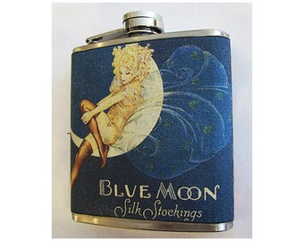 retro fashion flask vintage 1950's advertising pin up girl rockabilly hip flask kitsch