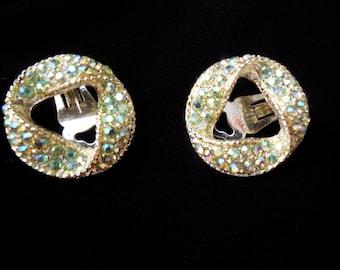 SALE Beautiful Rhinestone Earrings in ribbon design by 11 W. 30th St. Inc. Gorgeous pale green AB rhinestones