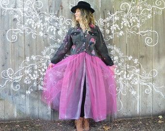 Dyed jean Jacket, pink tulle maxi skirt, Denim coat, size L XL, country chic, artsy, shabby chic, pink fuchsia, festival coat, Stevie Nicks