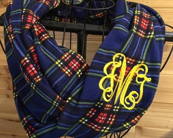 Plaid Infinity Scarf - Ready to Embroider Scarf - Embroidered Scarf - ships out in 3 business days -