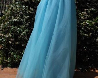 Blue sky tulle skirt , floor length tulle skirt
